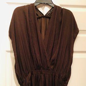 Zara Greek Empire Espresso Brown long Dress V neck